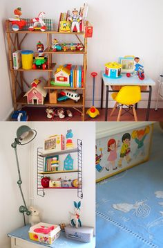 such a great way to display vintage Fisher Price. . . MUST save for future!