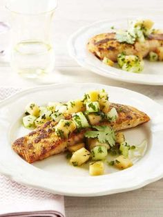 Ginger-Crusted Salmon with Melon Salsa - not sure about the melon salsa, but this looks like a great salmon recipe!
