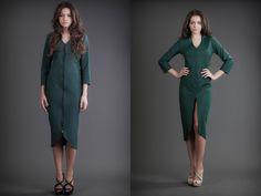 2 in 1 Dress - Silk & Jersey Green Reversible Dress, 21st Dresses, Silk Dress, Duster Coat, Cashmere, Coral, Green, Jackets, Fashion Design