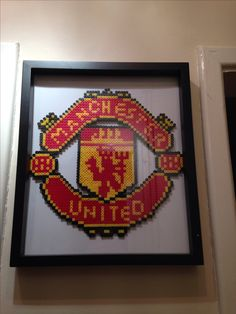Manchester United hama bead Manchester United FC ScarfKnitted Man Utd Official Licensed ProductWhether you just want to keep warm or are going to support your favourite team play a match this knitted Man Utd… Hama Beads Design, Diy Perler Beads, Hama Beads Patterns, Pearler Beads, Beading Patterns, Manchester United, Pokemon, Man United, Crafts For Kids