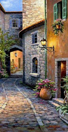 Best Ideas For Landscape Art Oil Watercolor Landscape, Landscape Art, Landscape Paintings, Watercolor Paintings, Painting Art, Flower Landscape, Beach Landscape, Forest Landscape, Italy Painting