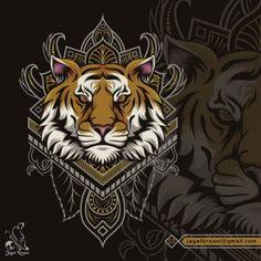 JagatKreasi – Creative Logo Place Tiger Illustration, Creative Logo, Snake Print, Predator, Mandala, Wildlife, African, Graphic Design, Cartoon