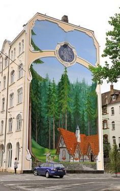 Street Art by Steffen Jünemann. The concept was to interpret the fairy tales of the Grimm Brothers monumentally on walls and facades in the style of trompe l'oeil. Murals Street Art, Graffiti Art, Street Wall Art, Banksy, Urbane Kunst, Sidewalk Art, Amazing Street Art, Building Art, Illusion Art