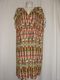 J. JILL Womens Plus Size 3X Multicolor Aztec Tribal Print Crossover V-neck Dress #JJill #Sundress #SummerBeach