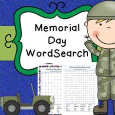 Memorial Day No Prep Word SearchWord searches linked to Memorial Day topic. Includes 3 word search activities at 2 different difficulty levels. Come with or without color border.Perfect end of year activity, no prep required, just print and go!This product is part of my memorial day activity bundle which is available at a bargain price here****************************************************************************If you purchase this product I would very much appreciate you coming back to…