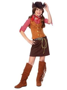 Old West Theme: A pearl snap shirt, vest, skirt, boots, bandana, and hat, and you've got a fine cowgirl costume.