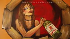 Mural for a nightclub... who wanted a girl drunk with jameson.. no specific instructions.. so of course I painted myself coming out of the wall ;) ha!  www.sheilasmithdesigns.com original artist