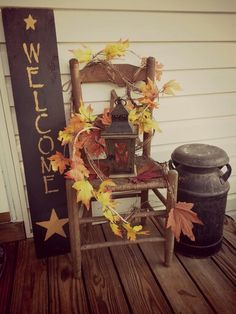 Fall porch decor..Not done still gotta get pumpkins