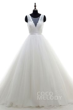 Dramatic A-Line Bateau Natural Chapel Train Tulle Ivory Sleeveless Zipper With Buttons Wedding Dress Ribbons LD3994