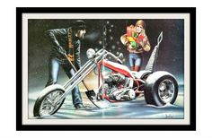 "DAVID MANN Motorcycle Holiday Art Print, ""White Christmas"" Vintage Wall Decor Print. $12.97, via Etsy."