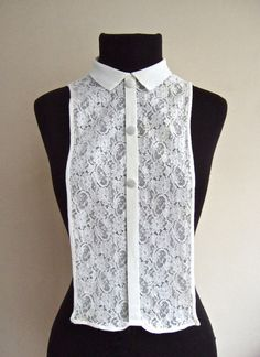 Idea: make a dickey from too-small blouse. Sewing Clothes, Custom Clothes, Vintage Style, Vintage Fashion, Sew Simple, Refashioning, Lace Collar, Love Sewing, Piece Of Clothing