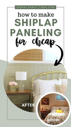 This vertical shiplap paneling project is easy and affordable! This sage green painted, vertical panelling was created on a tiny budget - less than $25 including the paint! (Behr's Milk Thistle) Basement bedroom: basement window covering, antique treadle sewing table, and more #decor #budgetdecor #bedroomideas #basement #farmhouse #cottage