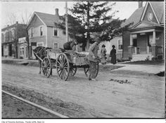 1907 - Road repairs on north Yonge Street at Eglinton Avenue Toronto Ontario Canada, Toronto City, Hidden Art, Yonge Street, Old Photography, Historical Architecture, Past Life, Places To Go, The Past