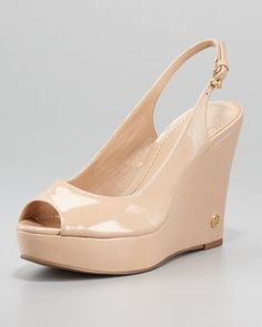 Cassidy Slingback Wedge, Tory Beige by Tory Burch at Neiman Marcus.