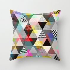 Polypattern Throw Pillow by DavesPrints / Textile Patterns, Textile Design, Shape Patterns, Print Patterns, Accent Pillows, Throw Pillows, Girl Sleeping, Workspace Inspiration, Printed Cushions