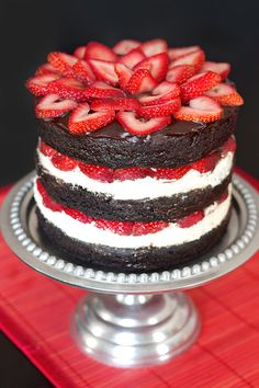 Get the recipe: strawberry brownie layer cake