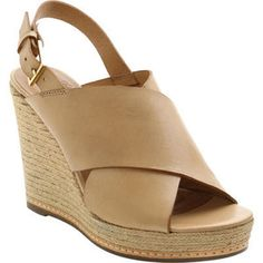 Women's Andre Assous Cora Wedge Sandal - Nude Vaquetta Leather Casual