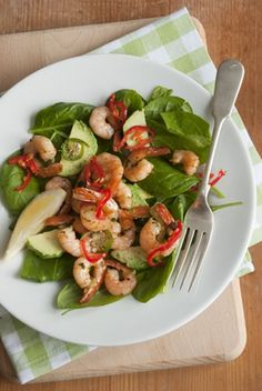 This recipe makes a delicious and healthy lunch or dinner for one person, although it is simple to double or triple if you are feeding more. The cooked shrimp are marinated in an Asian-flavored marinade for twenty minutes, while you prepare the remaining ingredients. Use medium or large shrimp for this and leave the tails on for a nice presentation. #shrimp #recipes for #dinner