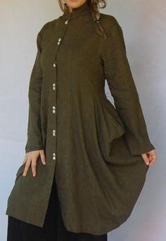 Moss Green Mandarin Collar Coat Linen Mix