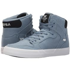 Supra Vaider (Slate/Black/White) Skate Shoes (305 BRL) ❤ liked on Polyvore featuring shoes, supra high tops, skate shoes, cushioned shoes, ankle support shoes and hi top skate shoes