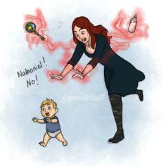 Wanda babysitting Nathaniel Pietro Barton fanart by pencilheadno7