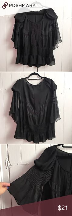 """Zara Woman bell sleeve Victorian-style blouse M I love this blouse paired with flare jeans! Excellent pre-loved condition. I wore only twice. Approx 38"""" bust, 25-29"""" length. I cut out the materials tag but I'm sure it's poly!✅offers❌trades/PP bundles save 20% off 2+ Zara Tops Blouses"""