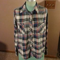 "Free People Shirt Multiple colors plaid cotton button up front shirt with denim design on back and shoulders has front pockets is 26""long looser fit Free People Tops"