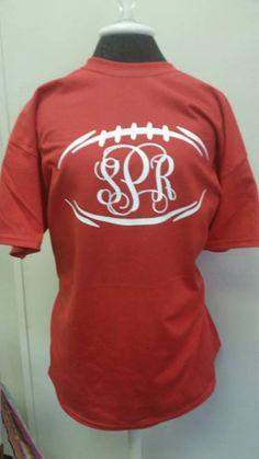 Football & Monogram Shirt by TheBlueKnotBG on Etsy