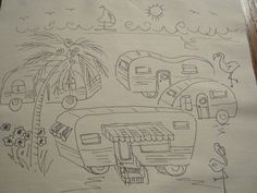 Items similar to Beach Vintage Trailer and RV Park hand embroidery to do or color or paint on Etsy Embroidery On Clothes, Rose Embroidery, Cross Stitch Embroidery, Embroidery Patterns, Cross Stitch Patterns, Rug Hooking Patterns, Craft Patterns, Embroidery For Beginners, Embroidery Techniques