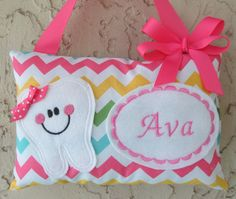 Tooth Fairy Pillow Personalized Girl Chevron Riley Blake by Mimisartistree on Etsy https://www.etsy.com/listing/129572822/tooth-fairy-pillow-personalized-girl