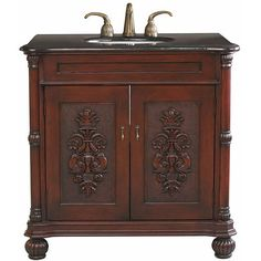 This beautiful hand-carved single bathroom sink vanity is decorated with a hand-painted medallion design on door panels that accentuate the tradition flavor. This vanity has a careful finish with a multi-layer of top coat to ensure water proof.