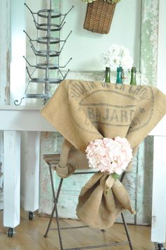 French burlap grain sack as a bistro chair slipcover