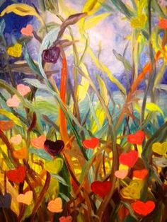 "Saatchi Art Artist Nada  Sucur Jovanovic; Painting, ""Garden on rein"" #art"