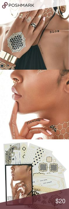 #Extended Sale# 🐝Beyonce Flash Tattoos The perfect Stocking Stuffer 🎁🎄  Each set includes over 57-metallic tattoos that are an eclectic mix of lyrical, honeycomb and signature beehive-inspired designs.   Non-toxic; Safe for anyone to wear.   Easy 10-minute application. Can be worn up to 6 days, with easy removal using baby oil. Detailed instructions included. Flash Tattoo Accessories
