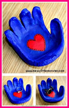 Simple instructions to make a hand shaped dish from salt dough for rings, cufflinks, coins or keys. A great kid made gift idea for mothers day, fathers day, valentines day or christmas. Kids Crafts, Baby Crafts, Toddler Crafts, Kids Fathers Day Crafts, Creative Crafts, Salt Dough Crafts, Salt Dough Handprints, Salt Dough Projects, Daddy Day