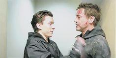 "Robert Downey Jr. & Tom Holland for ""Avengers: Infinity War set invitation""."