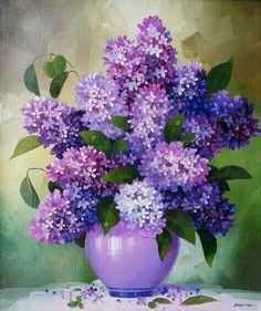 Have a beautiful week. Flower Vases, Flower Art, Flower Arrangements, Art Floral, Watercolor Flowers, Watercolor Paintings, Lilac Painting, Acrylic Art, Purple Flowers