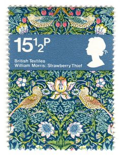 Great Britain postage stamp: William Morris    c. 1982, one of set of 4 stamps featuring British textiles