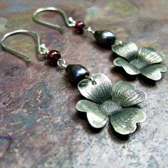 etched dogwood flowers with pearl and garnet