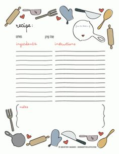 Free recipe card printable  type up and print out recipes to make your own personalized cookbook.