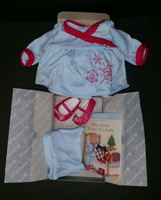 American Girl Bitty Baby Snowflake Dreams PJ Slippers Paper Doll TeddyBear Book  #ClothingShoes