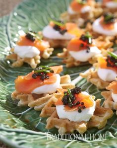 Waffles topped with smoked salmon, crème fraîche, and caviar start the gathering and are lovely paired with Champagne or Prosecco. - Photo: Peter Krumhardt