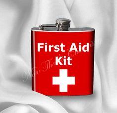 Flask - First Aid Kit Design - Gift for Birthday Paramedic Wedding Doctor Nurse