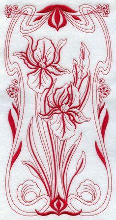 BLOOMING Art Nouveau - IRIS- Machine Embroidery Quilt Block (AzEB)