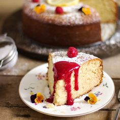 This lemon yogurt cake with raspberry sauce takes only minutes to put together & makes a perfect go-to dessert.