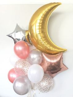 Rose Gold Balloon Bouquet Twinkle Little Star Balloons Fotos Baby Shower, Baby Shower Balloons, Birthday Balloons, Baby Balloon, Star Baby Showers, Gold Baby Showers, Balloon Clusters, Rose Gold Balloons, White Balloons