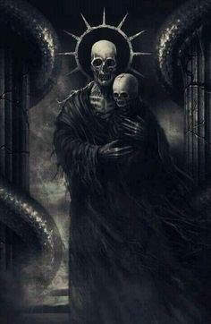Skeleton and Infant skeleton. Perhaps mother and child, as indicated by the halo. So very sad!