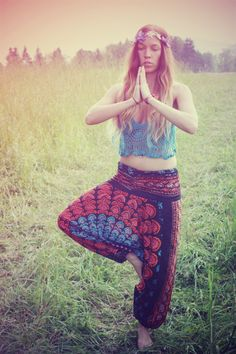 Handmade Harem Pants, Gypsy Pants, Romper, Aladdin, Genie, Hippie Skirt, Yoga, India, Pants-Wear Two Different Ways. $30.00, via Etsy.