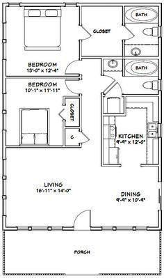 28x40 House 28x40h1c 1 120 Sq Ft Excellent Floor Plans Small House Floor Plans Small House Plans Tiny House Plans