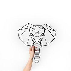 Metal Wall Art elephant head Geometric Animals Home Decor Interior Signs Steel Minimalistic Office Idea Gift Living Room hanging safari